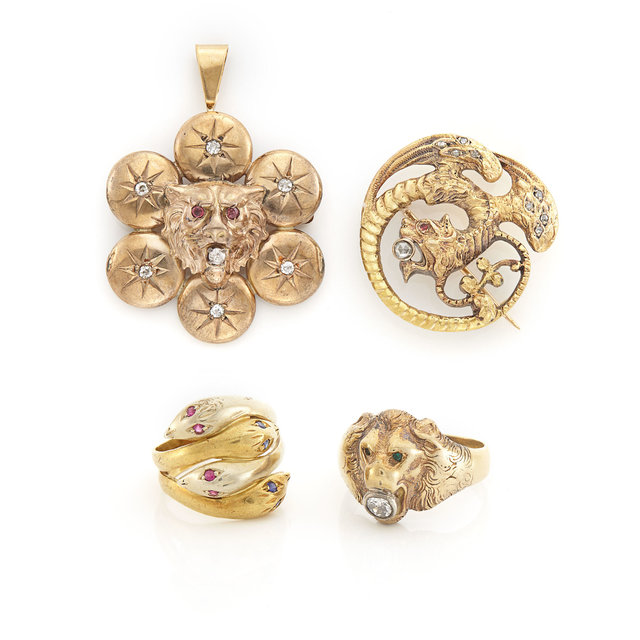 'Group of Antique Gold, Low Karat Gold, Gilt and Diamond Animal Jewelry', Doyle