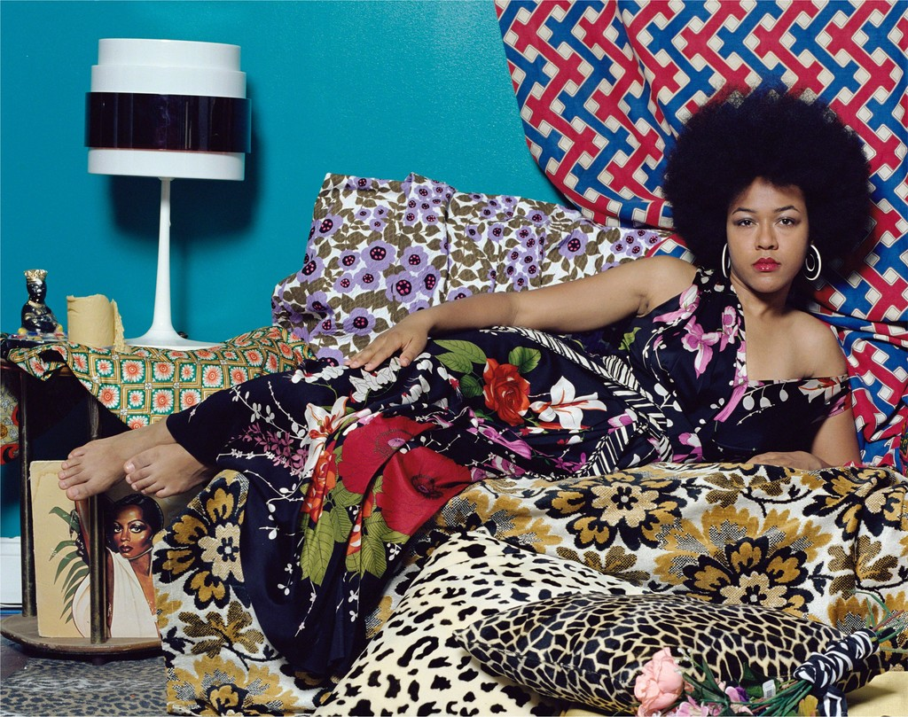 Image result for Image: Mickalene Thomas, Tell Me What You're Thinking, 2016.