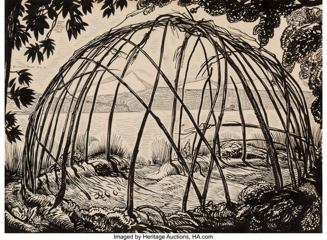 Rockwell Kent, 'Frame of a Wigwam, Indian Bay, Breton Sound, Voyaging Southward From the Straight of Magellan interior illustration', 1922, Heritage Auctions