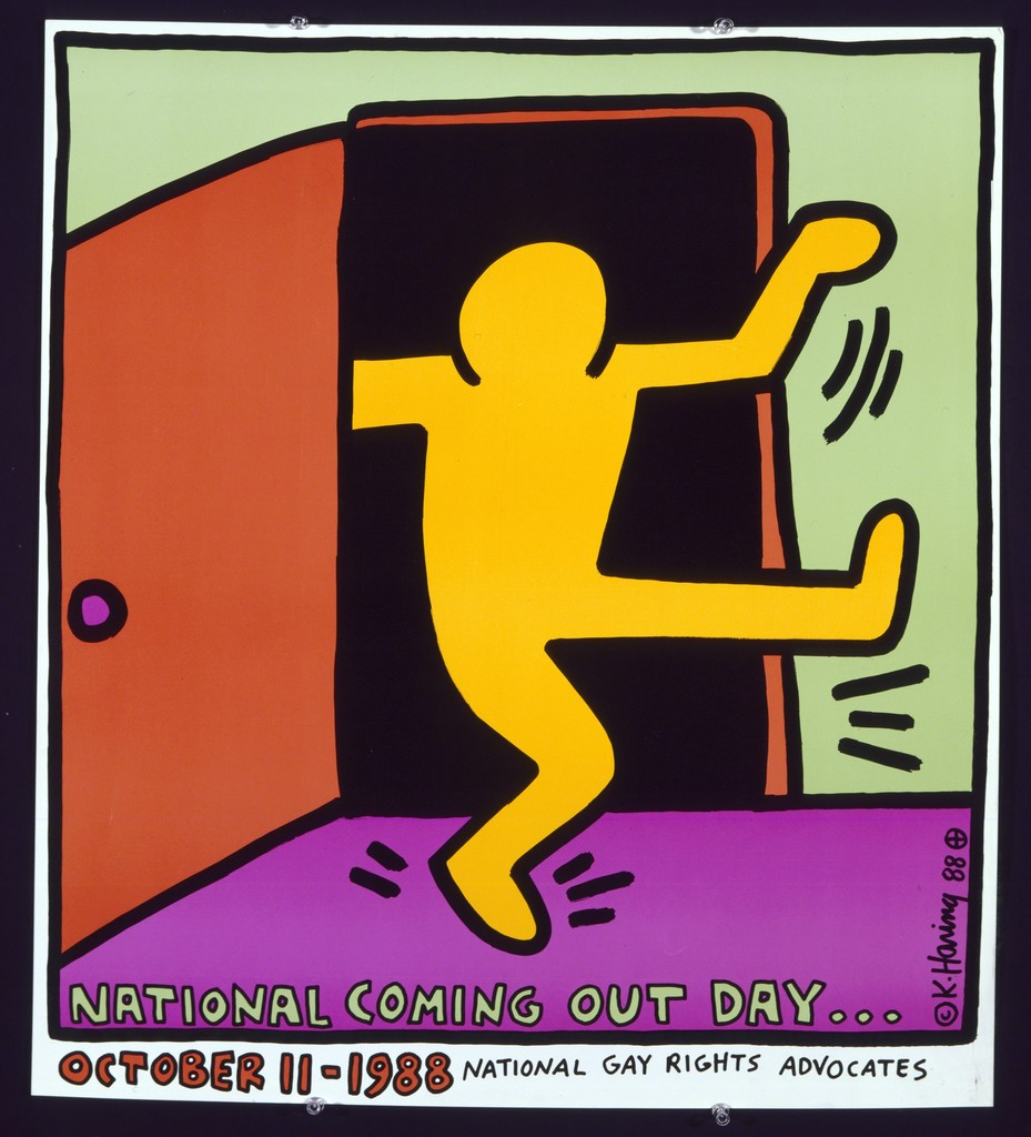 Keith Haring National Coming Out Day 1988 Offset lithograph 26 x 23 in. ©Keith Haring Studio