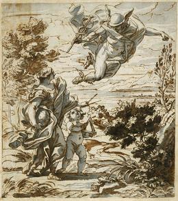 Giovanni Battista Gaulli, called Baciccio, 'Mercury Leading Geography', 1689, Blanton Museum of Art