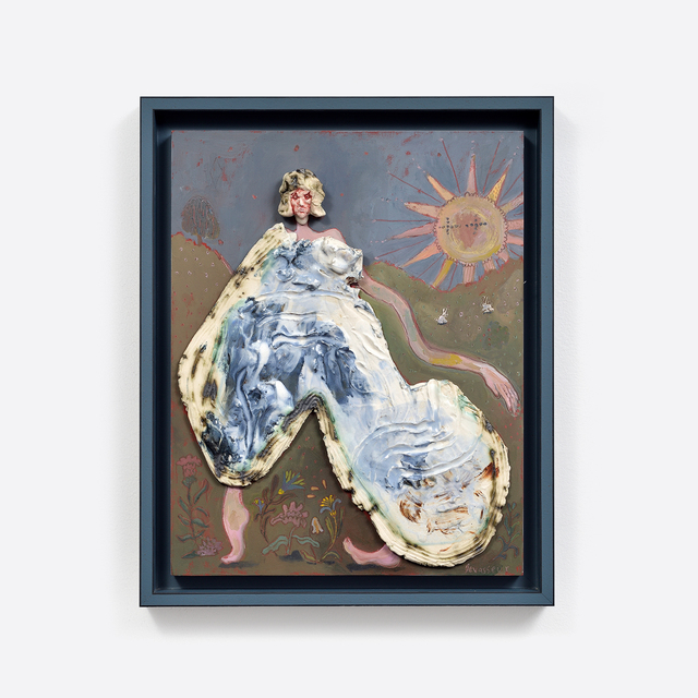 Alexandra Levasseur, 'Le pyjama.', 2020, Mixed Media, Gouache, oil painting, grease pencil and enamelled stoneware on wood, Galerie C.O.A