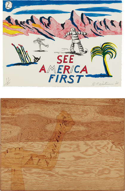 H.C. Westermann, 'See America First', 1968, Print, The complete set of 17 lithographs in colors, on Copperplate Deluxe paper, the full sheets, with title page/colophon, all contained in the original plywood slipcase constructed by the artist, with hand woodburning., Phillips