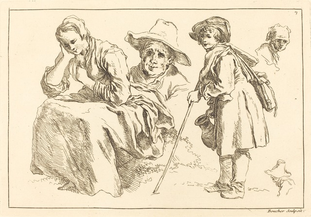 François Boucher after Abraham Bloemaert, 'Figure Studies including  Standing Boy Holding a Pitcher', published 1735, National Gallery of Art, Washington, D.C.