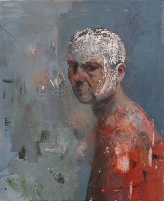 Daniel Pitin, 'Self portrait with a white head', 2018, Painting, Mixed media on canvas, Charim Galerie