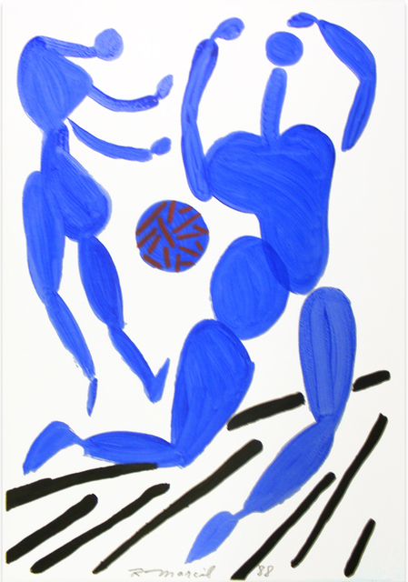 , 'Untitled: Two Blue Figures with Ball,' 1988, Nikola Rukaj Gallery