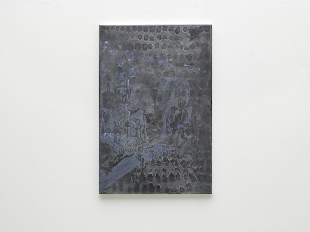 Morten Skrøder Lund. Untitled, 2018. Aluminum, gesso, oil on canvas. 90 x 60 cm
