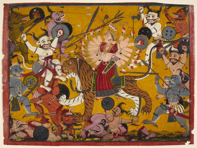 , 'The Goddess Durga Slaying Demons from the Devi Mahatmya,' 18th century, Princeton University Art Museum