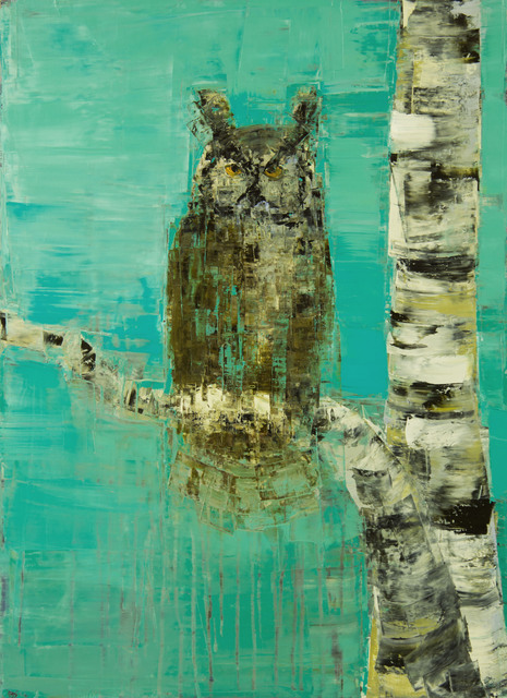 , 'Great Horned Owl and Birch Tree,' , Clark Gallery