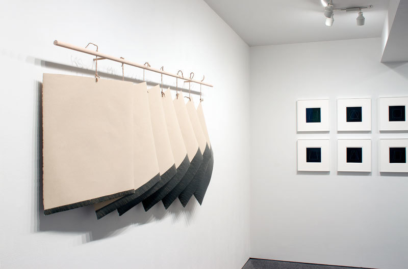 "Richard Smith's ""Diary"", 1975 left and Sol LeWitt's ""All All Double Combinations (Superimposed) of Six Geometric Figures