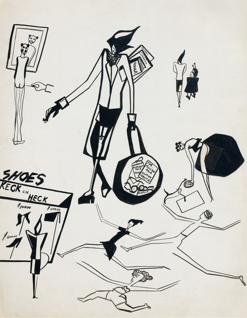 Jacob Lawrence, 'Untitled (Sketches of Gwen)', 1948, Mixed Media, Brush and ink on cardboard, DC Moore Gallery