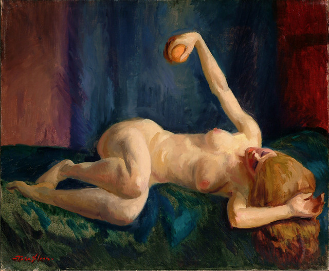 , 'Blonde Nude with Orange, Blue Couch,' ca. 1917, Delaware Art Museum