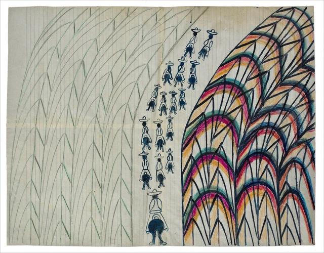 Martín Ramírez, 'Untitled (Men Riding Away)', ca. 1963, Ricco/Maresca Gallery