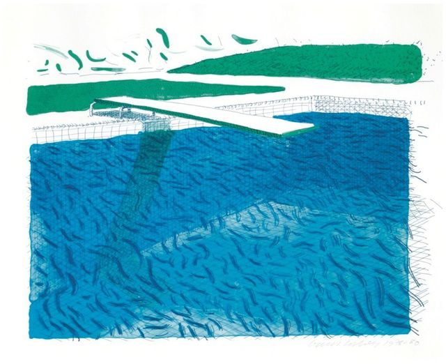 David Hockney, 'Lithographic Water Made of Lines, Crayon, and Two Blue Washes', 1978-1980, Upsilon Gallery