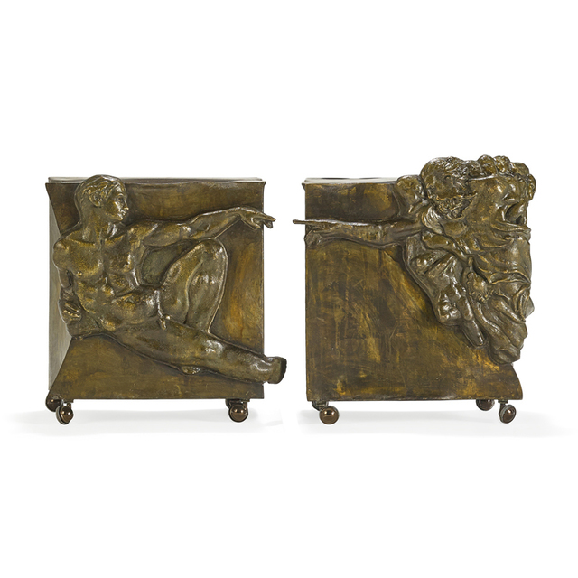 """Philip Laverne, 'Pair of sculptural side tables after Michelangelo, """"Creation of Man,"""" New York', 1960s, Rago/Wright"""