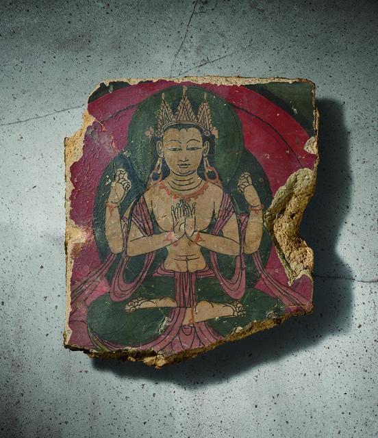 , 'A Polychrome Fresco Fragment of Rectangular Form Painted with Shadhasuri Lokeshvara Seated in Dhyanasana 西藏13|14世紀 灰泥彩繪四臂觀音圖壁畫殘部,' Tibet: 13|14th century, Rasti Chinese Art