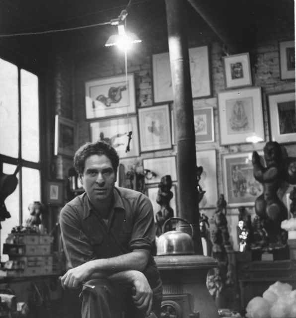 , 'Chaim Gross in his studio,' 1950-1951, Staley-Wise Gallery