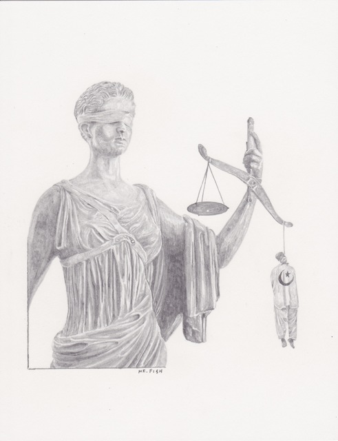 Mr. Fish, 'Injustice', 2011, Drawing, Collage or other Work on Paper, Graphite on paper, Robert Berman Gallery