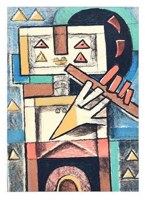 Ibrahim Kodra, 'Flute Player', 1975, Wallector