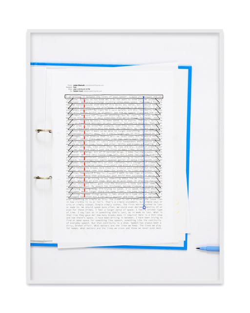 , 'A negative calligramme by Julien Bismuth (Jalousie),' 2018, Kadel Willborn