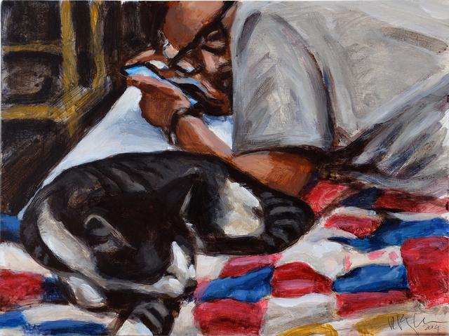 , 'Man and sleeping cat,' 2019, Ro2 Art