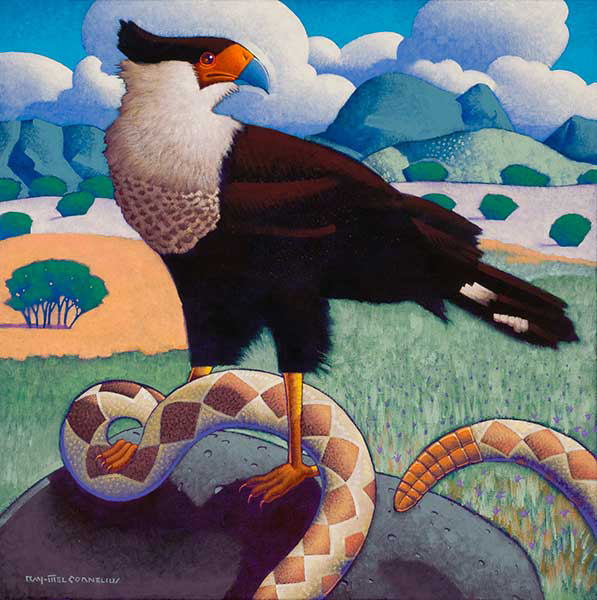 , 'Crested Caracara with Rattlesnake,' 2016, Ro2 Art
