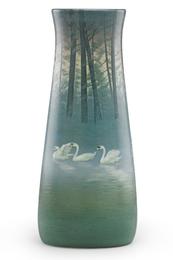Large Scenic Vellum vase with swans, Cincinnati, OH