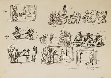 PRELIMINARY SKETCHES FOR ILLUSTRATION TO 'HISTORIES OF HERODOTUS' (Heritage Press, 1958)