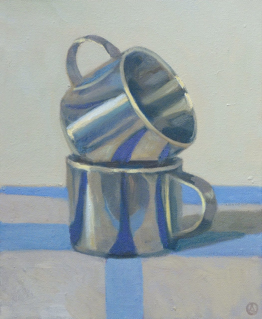 Olga Antonova, 'Two Cups on Blue Stripes', 2014, Painting, Oil on Canvas, Gallery Henoch