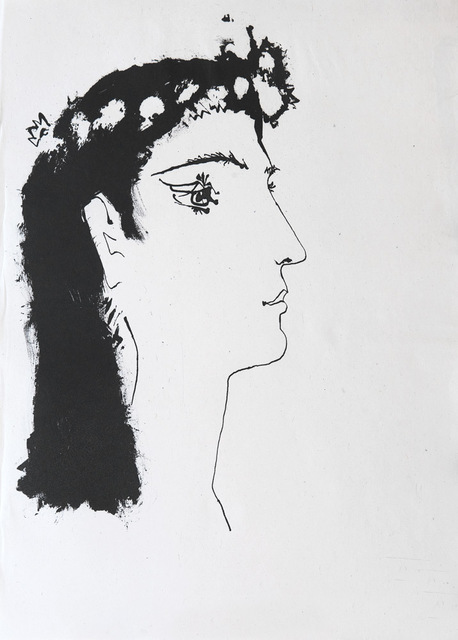 Pablo Picasso, 'Head of a woman crowned with flowers', 1948, Print, Etching, Goldmark Gallery