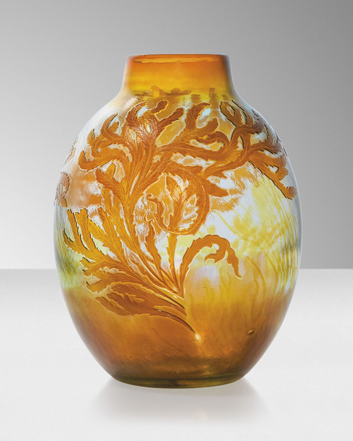 Galle, 'A 'Seaweed' vase', circa 1910, Design/Decorative Art, Cameo glass, internally decorated, overlaid and acid-etched, Christie's