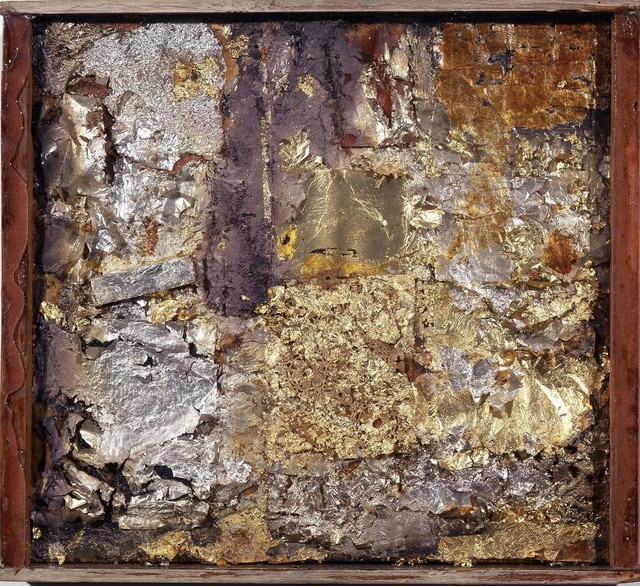 Robert Rauschenberg, 'Untitled (Gold Painting)', ca. 1953, Gold and silver leaf on fabric, newspaper, paint, wood, paper, glue, and nails on wood in wood-and-glass frame, Robert Rauschenberg Foundation