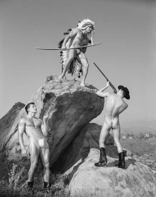 Bob Mizer, 'Steve Wengryn, Don Fuller and Joe Leitel (western #8), Mojave Desert, California', 1956, M+B