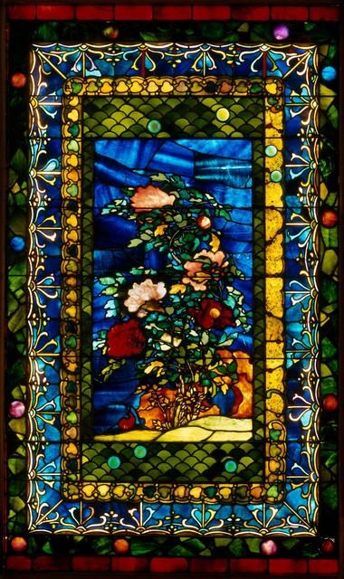 John La Farge, 'Peonies Blown in the Wind', ca. 1880, Design/Decorative Art, Leaded opalescent glass, The Metropolitan Museum of Art