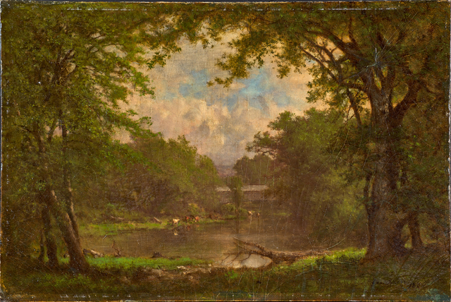 George Inness, 'Along the River', ca. 1868, Painting, Oil on Academy Board (in original artist-made frame), Rago/Wright