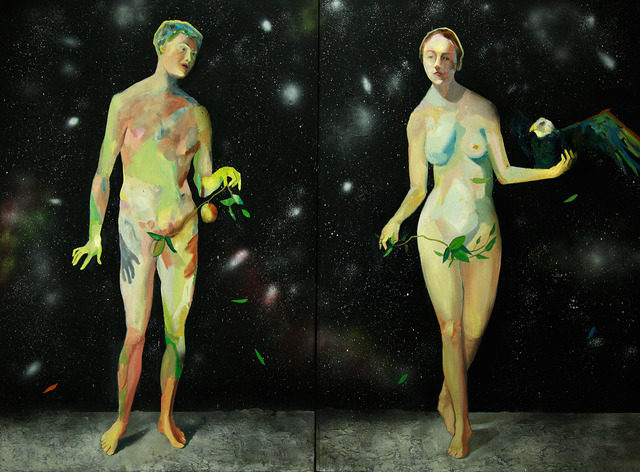 , 'Diptych, Adam & Eva in the moon,' 2013, Anna Laudel