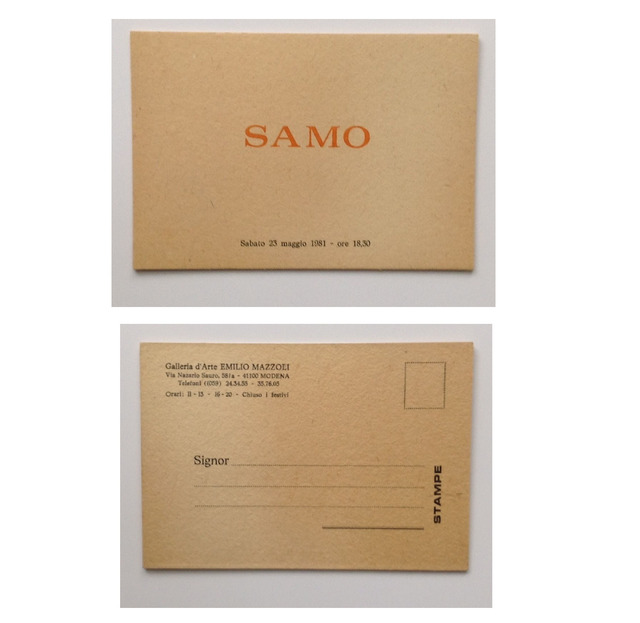 ", '""SAMO"", FIRST ONE MAN SHOW, Exhibit Invitation Card, Galleria d'Arte Emilio Mazzoli Italy,' 1981, VINCE fine arts/ephemera"