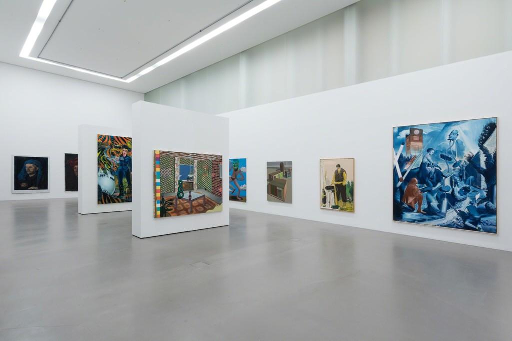 Installation view MDBK MEETS G2 with art works by Jochen Plogsties, Sebastian Gögel, Matthias Weischer, Christoph Rückhäberle, Ulf Puder & Neo Rauch © the artists & MdbK Leipzig, photo: Dotgain.info