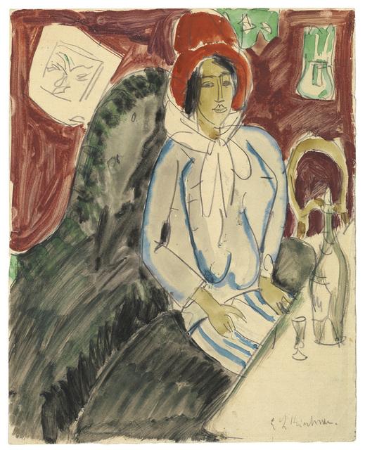 , 'Sitzende Frau mit einem Hut in einem Restaurant,' ca. 1912, Ludorff