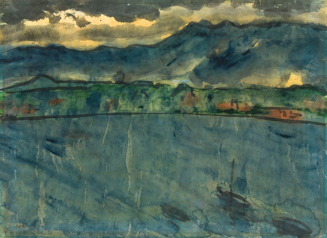 Emil Nolde, 'Evening mood at the sea', 1925/30, Drawing, Collage or other Work on Paper, Watercolour and indian ink on laid paper, Galerie Kovacek & Zetter
