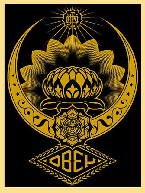 Shepard Fairey (OBEY), 'Lotus Ornament Gold', 2008, Gregg Shienbaum Fine Art