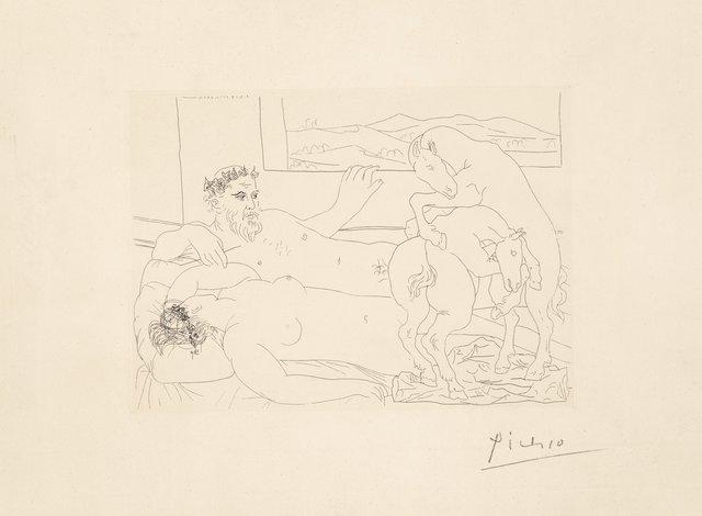 Pablo Picasso, 'Vieux sculpteur et modèle assoupi avec un groupe sculpté représentant des chevaux luttant, pl. 64, from La Suite Vollard', 1933, Heritage Auctions