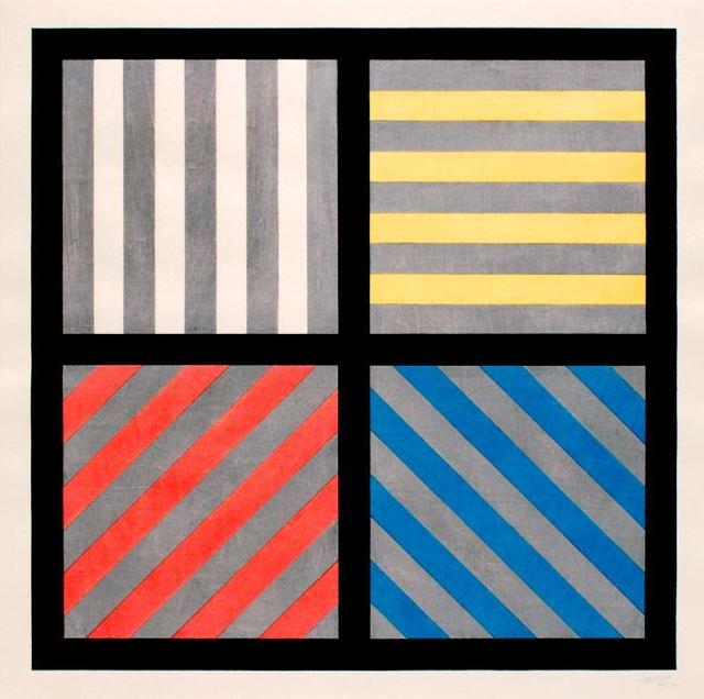 , 'Lines in Four Directions, with Alternating Color and Gray Bands,' 1993, Cristea Roberts Gallery