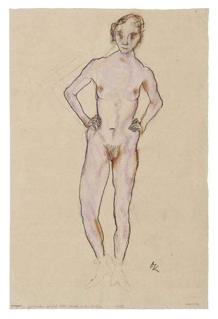 Oskar Kokoschka, 'Standing Female Nude, Hands on Hips', 1912, Galerie St. Etienne