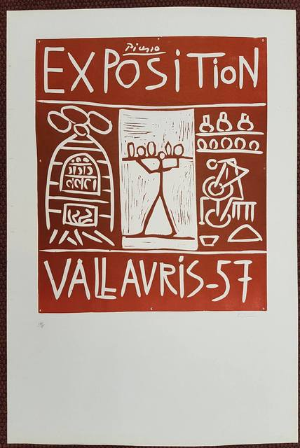, 'Hand signed Linocut - Exposition Vallauris 1957,' 1957, Hidden