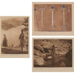 Three photogravures, one hand-colored.