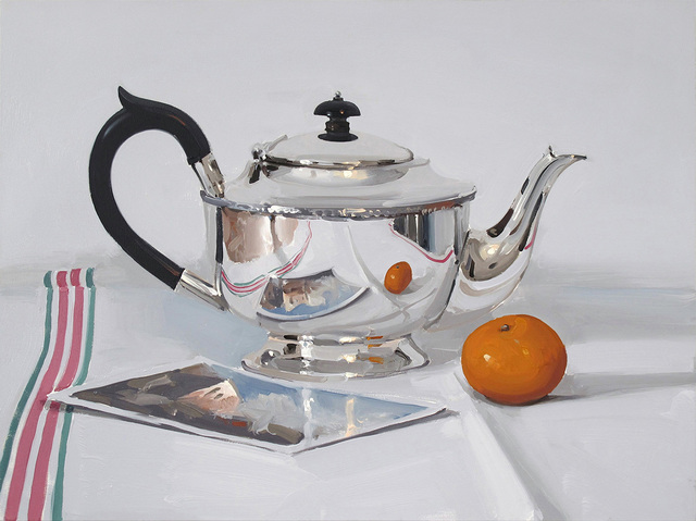 , 'Silver Teapot with Postcard and Orange,' 2018, Absolute Art Gallery