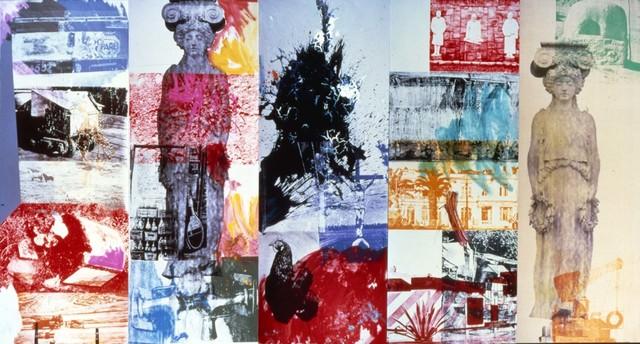 Robert Rauschenberg, 'Caryatid Cavalcade I / ROCI CHILE', 1985, Acrylic on canvas, Robert Rauschenberg Foundation