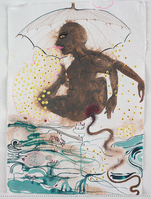 , 'Rain waters wrinkled and umbrellas widened while she curled endlessly liberating her ethnography to customs, castes, classes, exotic details and art historical references, scientific jargon... all salted with human tongue and check,' 2009, Galerie Nathalie Obadia