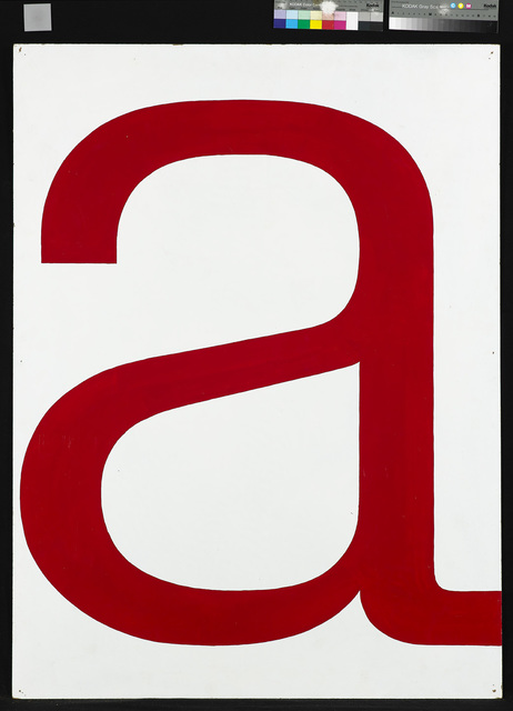 ", 'Untitled / Series with a red ""a"" on a monochrome background,' 1965, Galleri Bo Bjerggaard"
